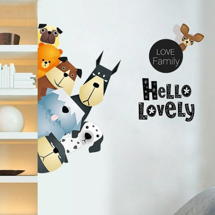 Cartoon Dogs Wall Stickers Lovely Family Vinyl Decals for