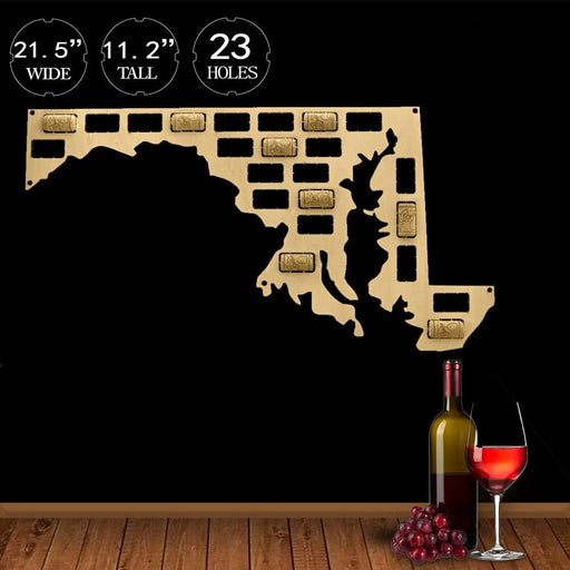 Maryland Custom-made Wine Cork Map USA State Home Decor Sign State Map of Maryland Wall Art Home Decor Gift I Love Maryland Map