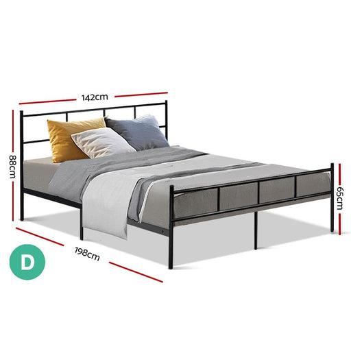 Metal Bed Frame Double Size Platform Foundation Mattress