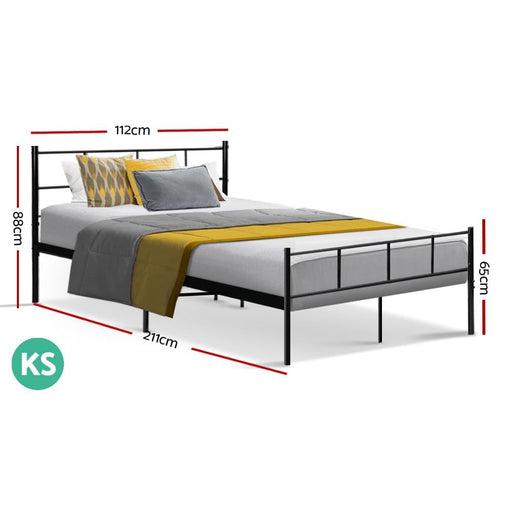 Metal Bed Frame King Single Size Platform Foundation