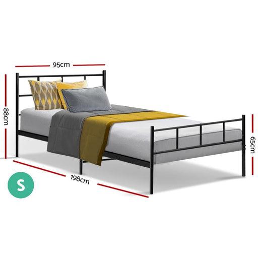 Metal Bed Frame Single Size Platform Foundation Mattress