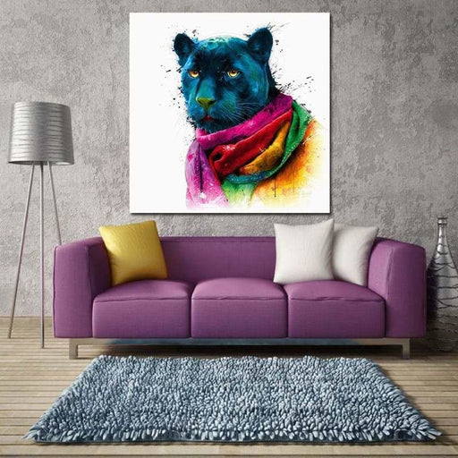 Miico Hand Painted Oil Paintings Abstract Colorful Leopard Head Wall Art For Home Decoration Painting