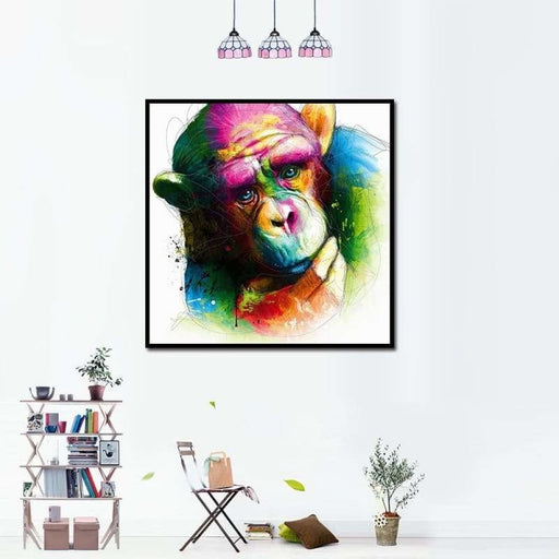 Miico Hand Painted Oil Paintings Abstract Colorful Pensive Gorilla Wall Art For Home Decoration Painting
