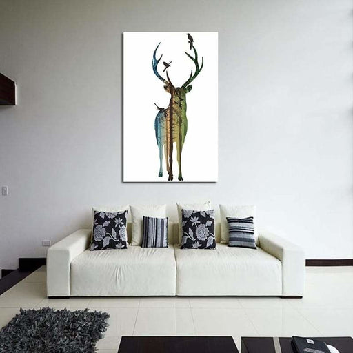 Miico Hand Painted Oil Paintings Simple Male Deer A Wall Art For Home Decoration Painting