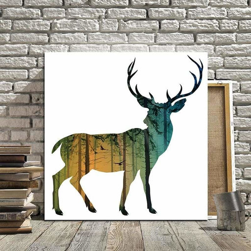Miico Hand Painted Oil Paintings Simple Style-D Side Face Deer Wall Art For Home Decoration Paintings