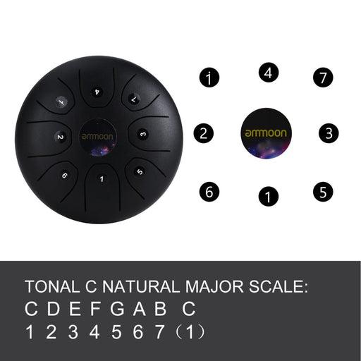 ammoon 5.5 Inches Mini Steel Tongue Drum 8 Notes C-Key Handpan Drum Steel Pocket Drum Percussion Instrument