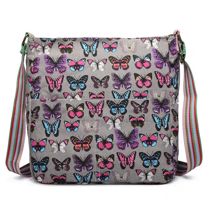L1104B - Miss Lulu Canvas Square Bag Butterfly Grey