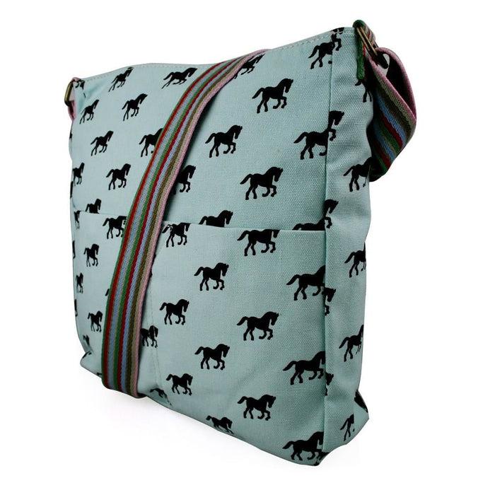 L1104H - Miss Lulu Canvas Square Bag Horse Blue