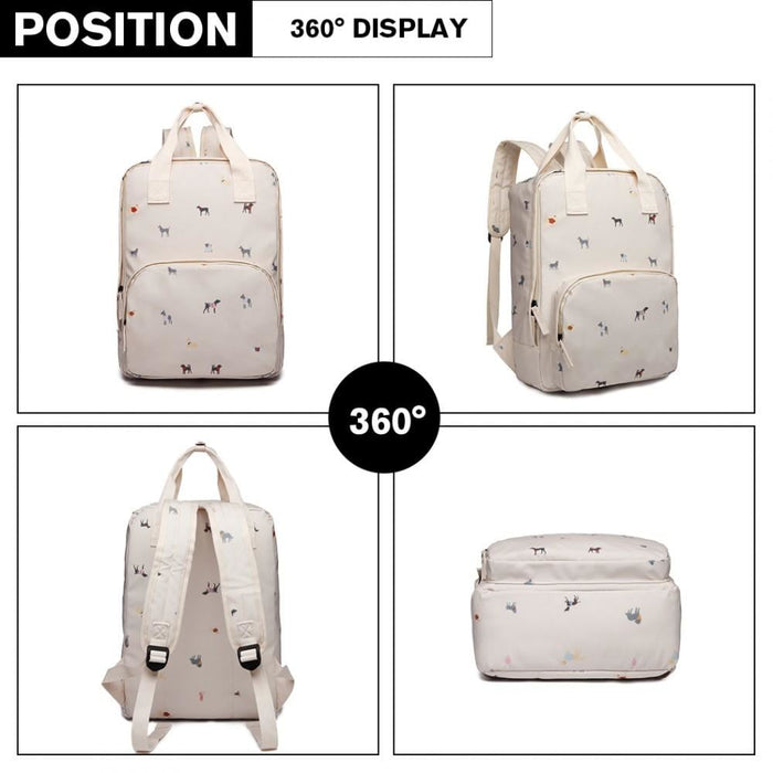 LG1928 - MISS LULU 'DOGS IN JUMPERS' PRINT LAPTOP BACKPACK -