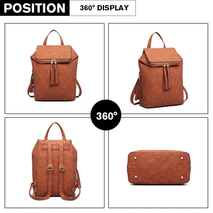 LG6903 - Miss Lulu Expandable Fashion Backpack - Brown