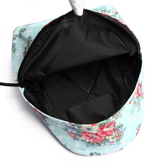 E1401F - Miss Lulu Large Backpack Flower Polka Dot Light