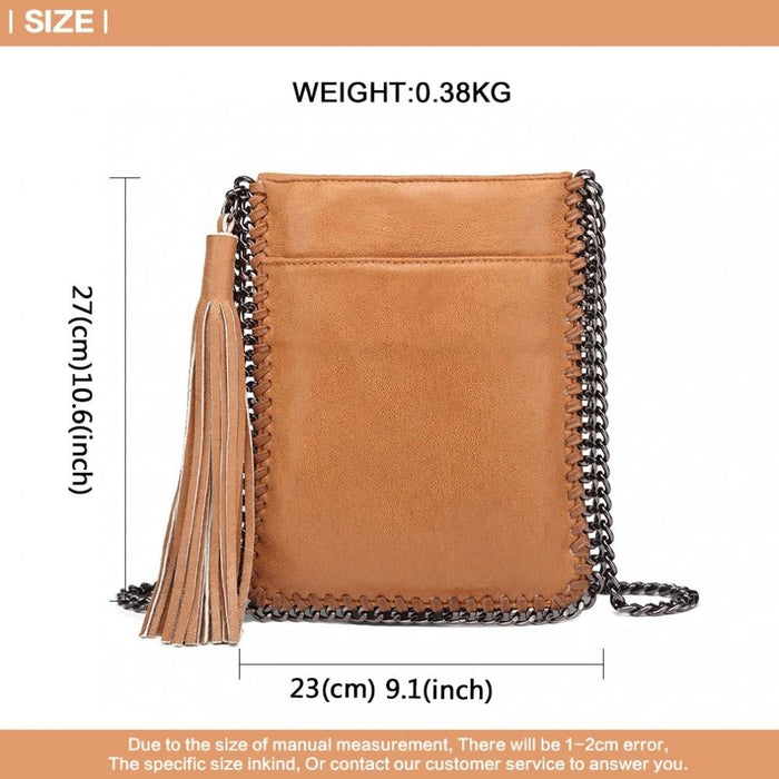 E6845 - Miss Lulu Leather Look Chain Shoulder Bag with