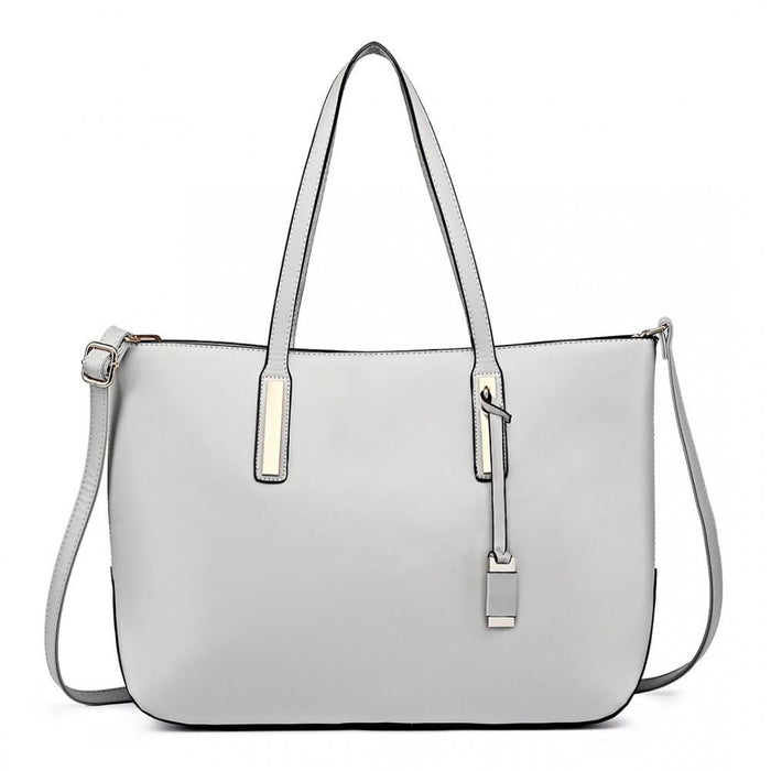 L1435-1 - Miss Lulu Leather Look Large Shoulder 3-in-1 Tote