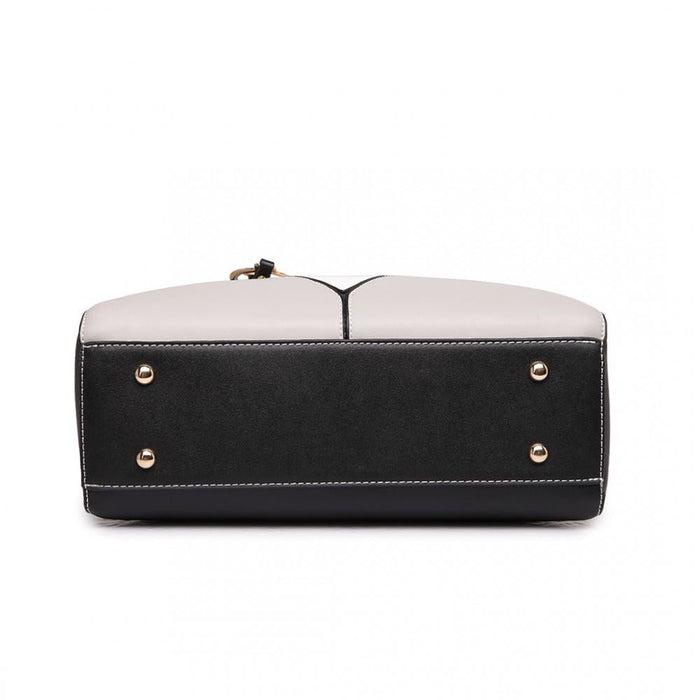 LG1641 - Miss Lulu Leather Look V-Shape Shoulder Handbag -