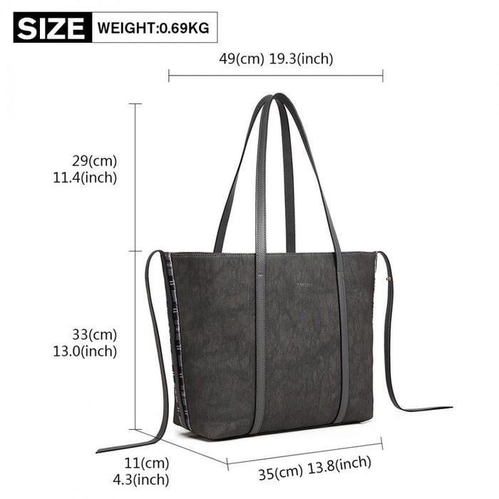 LG1922 - MISS LULU LEATHER LOOK TWO WAY TOTE SHOULDER BAG -