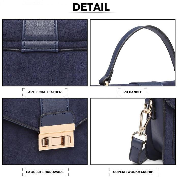 LB6872 - Miss Lulu Matte Leather Midi Handbag - Navy
