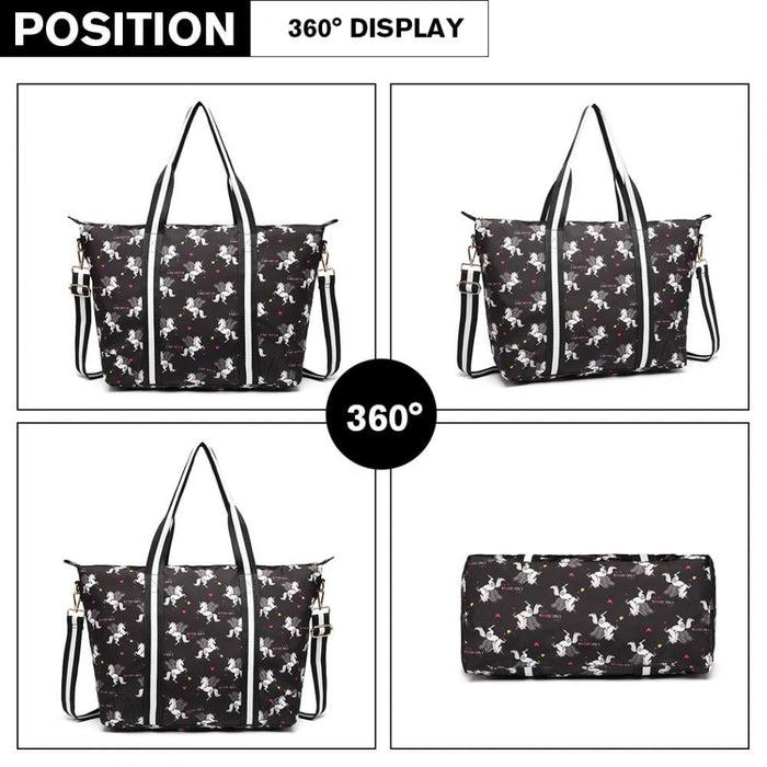 E6641 UN - Miss Lulu Matte Oilcloth Foldaway Overnight Bag