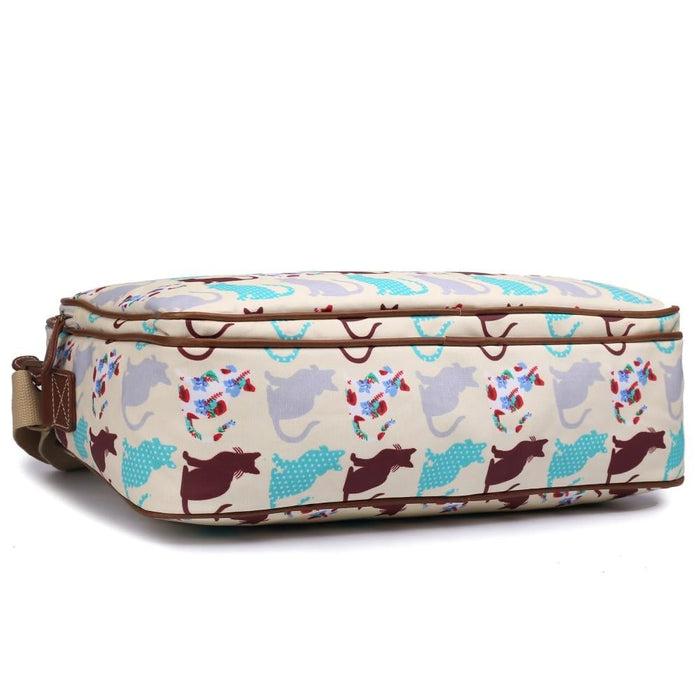 LG1624CT - Miss Lulu Matte Oilcloth Messenger Bag Cat Beige