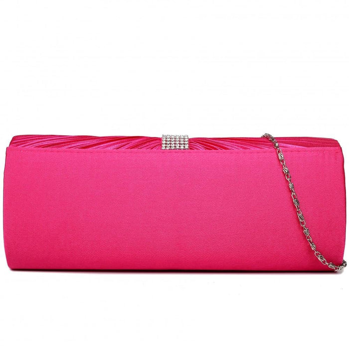 LY1683 - Miss Lulu Ruched Diamante Studded Evening Clutch