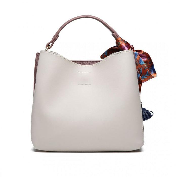 E1813 - Miss Lulu Silk Scarf Decor Tote Handbag Grey/Purple