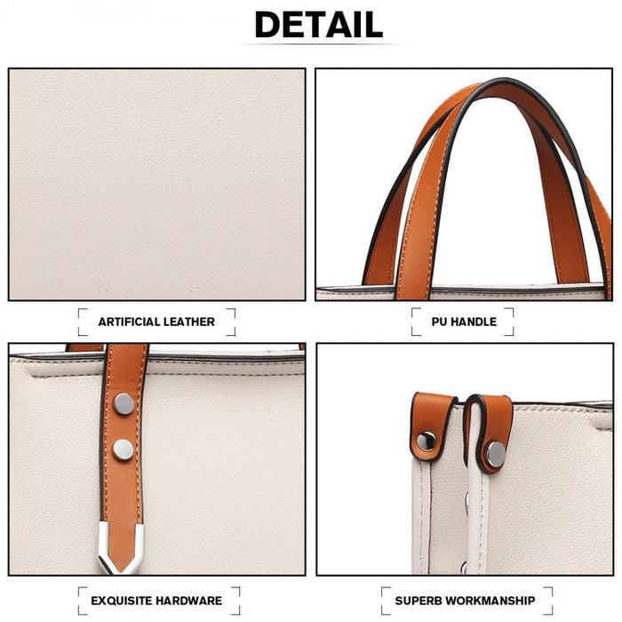 LN1910 - Miss Lulu Structured 2 Piece Shoulder Bag Set -