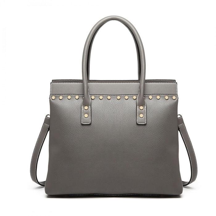 LG1974 - Miss Lulu Structured Leather Look Shoulder Bag -