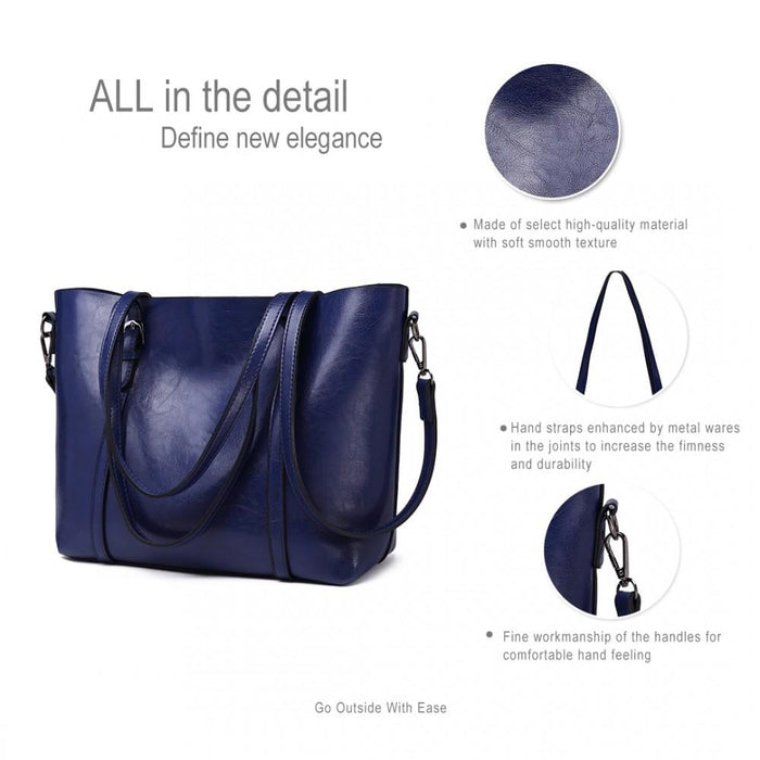 E6709 - Miss Lulu Trendy Womens Tote Bags Wax Leather - Navy