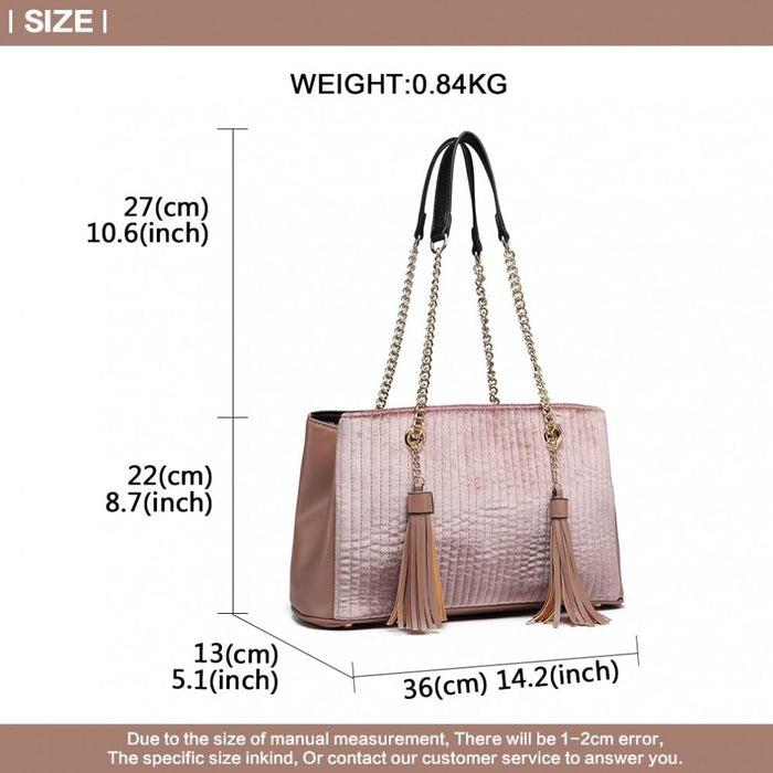 LT6857 - Miss Lulu Velour Quilted Tassel Shoulder Bag - Pink