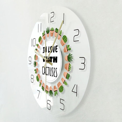 In Love With Cactuses Scandinavian Style Modern Wall Clock Hygge Potted Succulent Plants Decor Cozy Gardening Silent Wall Clock