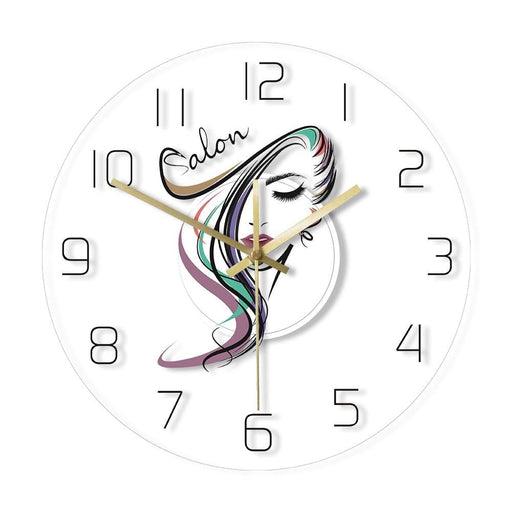 Beauty Time Hair Salon Hairdresser Design Transparent Acrylic Wall Clock Barber Shop Hair Stylist Wall Watch Art Gift for Woman