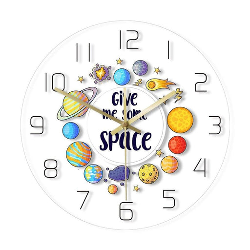 Give Me Some Space Funny Astronomy Wall Clock Science Wall Art Outer Space Decor Kid Room Nursery Silent Non ticking Wall Clock