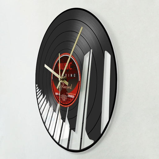 Piano Keys Musical Keyboard Vinyl Record Wall Clock Home Decor Living Room Hanging Clock Pianist Music Player Musician Gifts