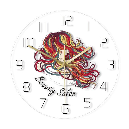 Beautiful Lady With Long Hair Decorative Wall Clock Beauty Hair Salon Wall Clock Hair Studio Hairstylist Decor Hairdresser Gift