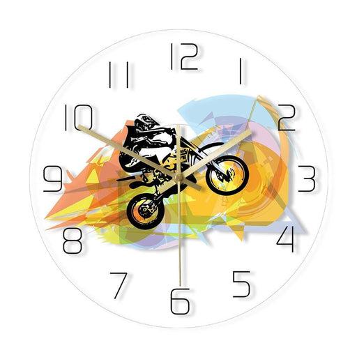 Dirt Bike Rider Colorful Print Wall Clock Extreme Sports Wall Art Dirt Motorbike Rider Modern Acrylic Wall Clock Motocross Gift