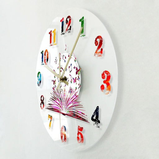 Colorful Book with Butterflies Watercolor Numbers Printed Wall Clock Design For Writing And Creation Writers Wall Clock