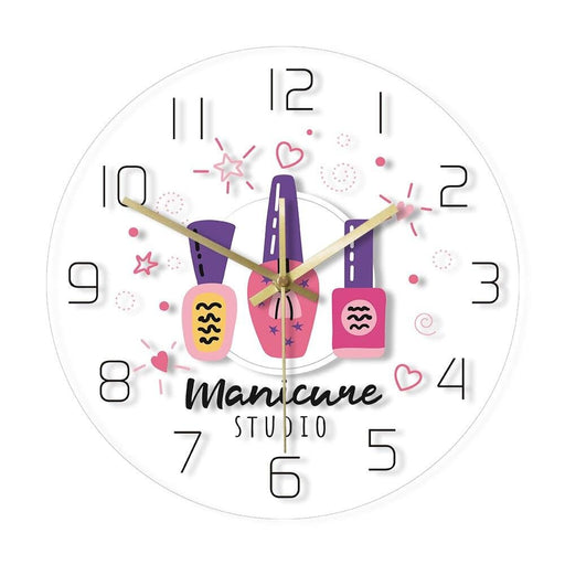 Add Your Name Manicure Studio Nail Polish Custom Print Wall Clock Personalized Nail Salon Hanging Watch Gift For Nail Technician