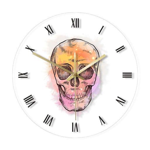 Watercolor Skull Head With Vintage Roman Numerals Decorative Wall Clock Hand Drawn Scary Skeleton Head Retro Acrylic Wall Watch