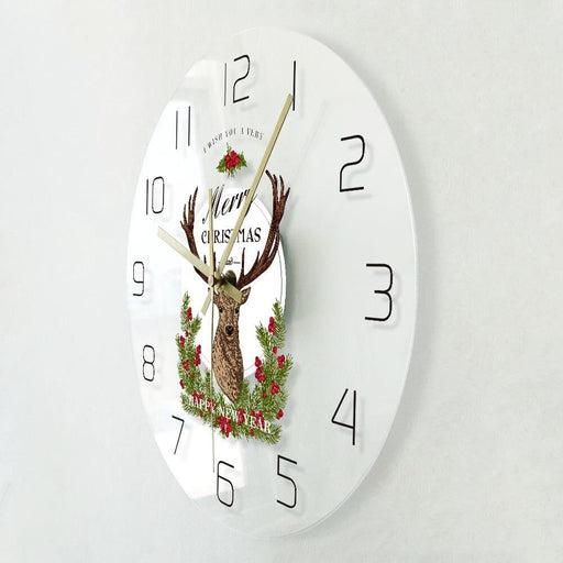 Merry Christmas And Happy New Year Winter Holidays Decorative Wall Clock Farmhouse Christmas Deer Wall Watch Housewarm Gift Idea