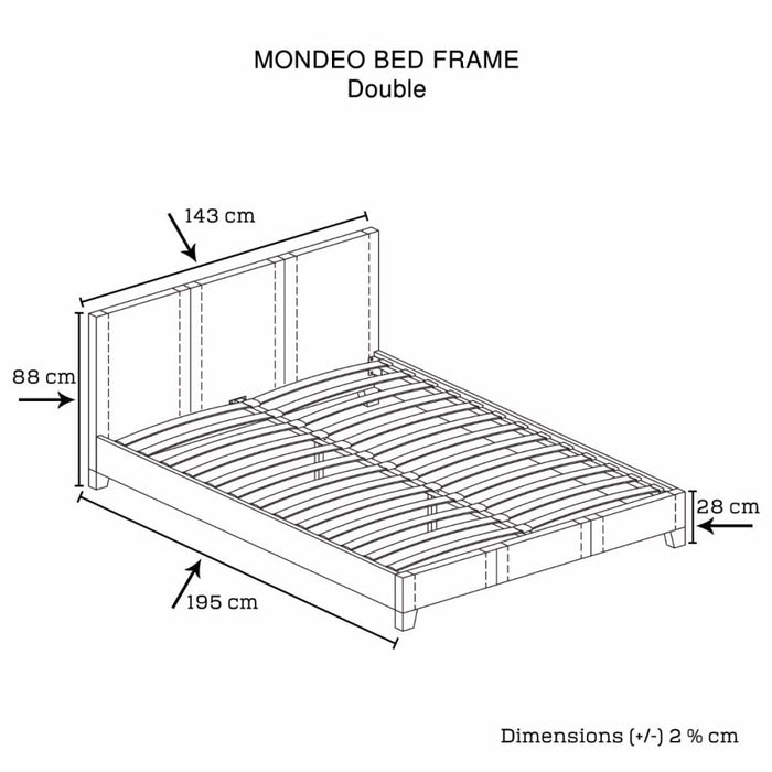 Mondeo Pu Leather Double Black Bed - Furniture > Bedroom
