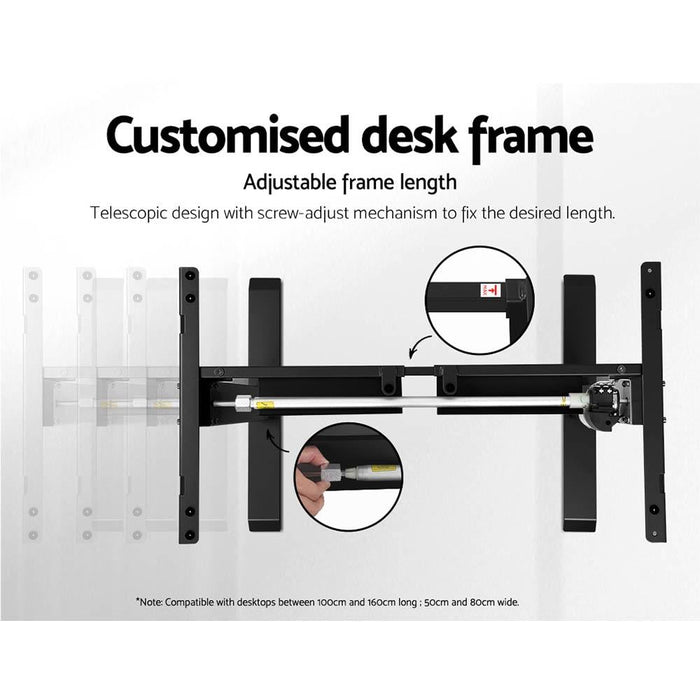 Motorised Adjustable Desk Frame Black - Furniture > Office
