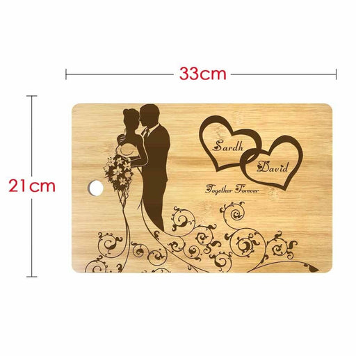 Personalized Mr and Mrs Names Laser Engraved Marriage Cutting Board Eco Friendly Bamboo Chopping Block Wedding Day Party Present (320x210mm)