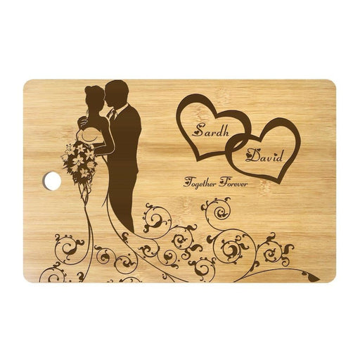 Personalized Mr and Mrs Names Laser Engraved Marriage Cutting Board Eco Friendly Bamboo Chopping Block Wedding Day Party Present