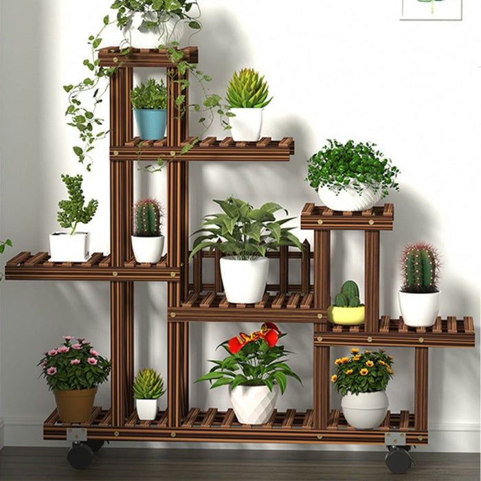 Multi-Tier Wooden Plant Flower Stand Plants Shelf Bookshelf Standing Flower Potted Windmill Plant Holder Display Outdoor Decor + Planting Tools Kit with Wheel