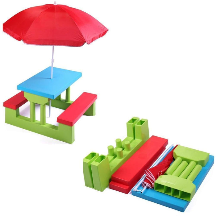 Multicolour Plastic Bench Set with Umbrella for Kids goslash fast delivery fast delivery