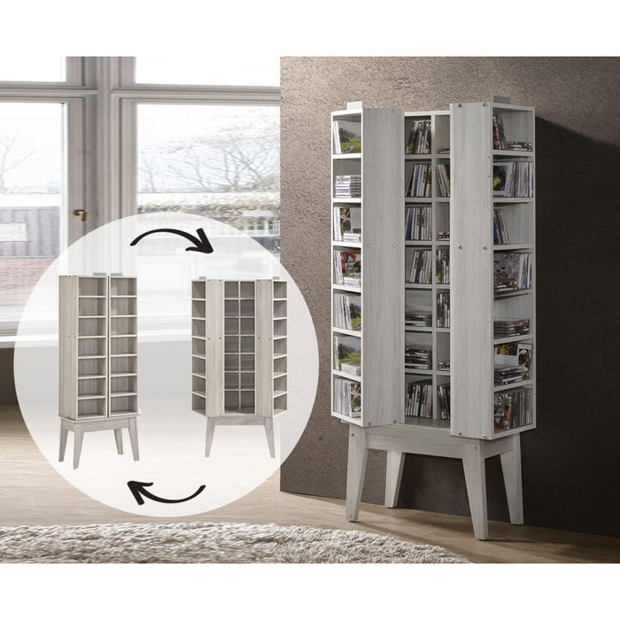 Multimedia DVD CD Storage Cabinet With Hidden Compartment In White Oak