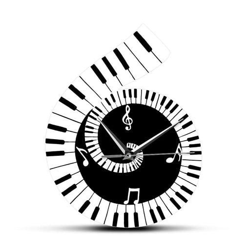 Black and White Music Sheet Dercorative Wall Clock Treble Clef Sign with Piano Keyboard Music Note Wall Clock Music Lover Gift