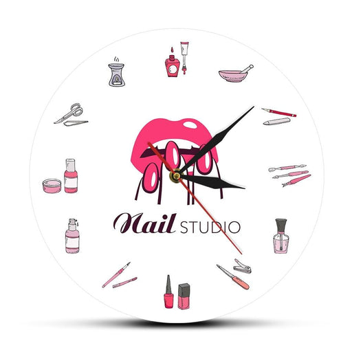 Nail Polish Bottles and Accessories Decorative Wall Clock Beauty Salon Nail Studio Tools Cosmetology Clock Wall Watch Timepieces