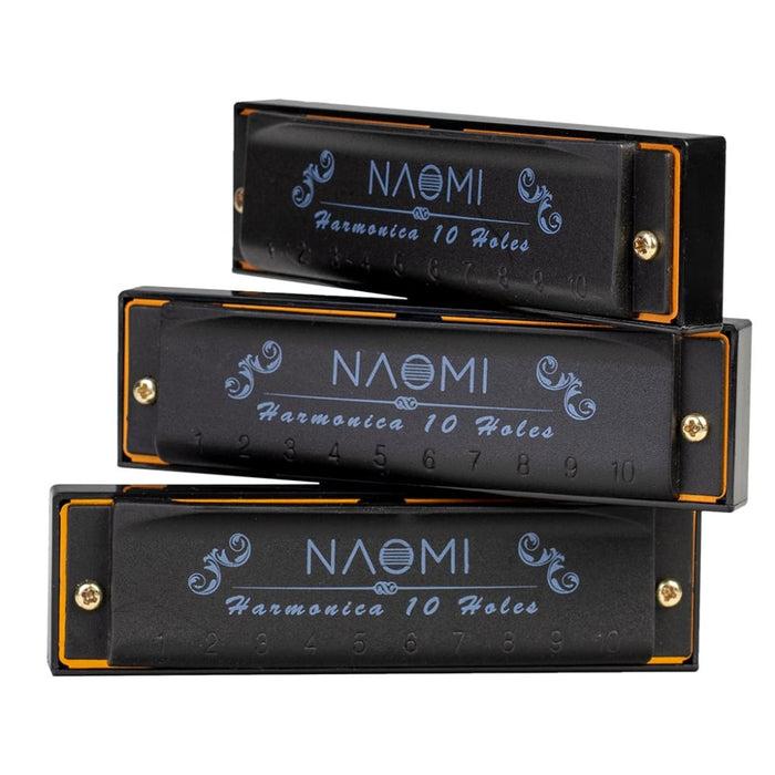 NAOMI 3PCS Hoodoo Blues Harmonica C D G Tone Harmonica Set with Case