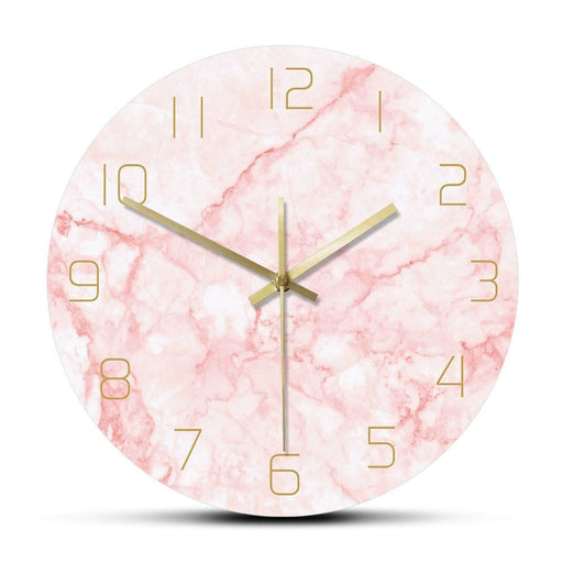 Natural Pink Marble Round Wall Clock Silent Non Ticking Living Room Decor Art Nordic Wall Clock Minimalist Art Silent Wall Watch