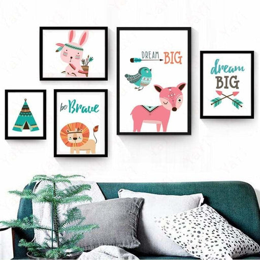 Nordic Frameless Cartoon Animal Bears Pink Deer Poster Wall Art Canvas Paintings Nursery Pictures For Baby Kids Room Decor